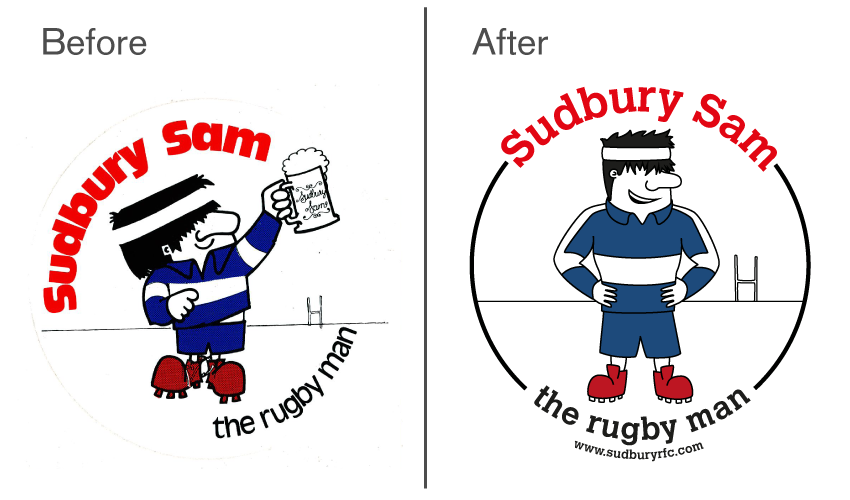 joe-stone:  Archived Work A character re-design of the Sudbury Rugby Club mascot Sudbury Sam, taken on and completed at Glyph. joestonearchive:  Originally introduced in the 1980s, the character had fallen out of usage at the club and an entire generation of new youth players weren't aware of him. Given free reign for rejuvenation, I decided to transform him from the dumpy, beer-swilling joke character to someone that younger players could actually aspire to. Broad but lean, strong but friendly, and still cartoony and mis-proportioned enough to be fun, the final product took inspiration and features from the original but added a whole new aspect to him which was much appreciated by the club.