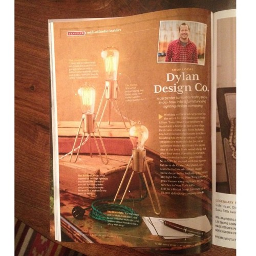Dylan Design Co. Retronaut Rocket Lamps in the April issue of Southern Living.