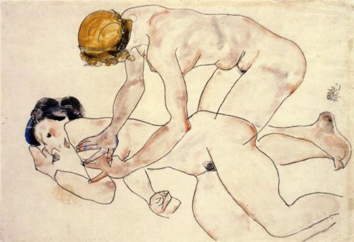 flommus:  Egon Schiele, Two Female Nudes One Reclining One Kneeling, aka The Friends, 1912.