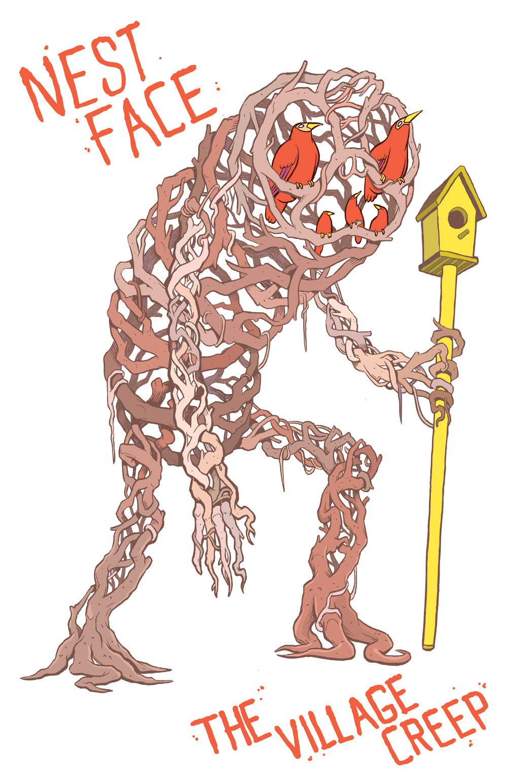 This son' bitch is Nest Face, the creakiest creature in the village creep. He's entirely composed of old tree limbs and he's harbored almost every species of bird, lizard an insect in the nooks and crannies of his being. You'll most likely find Nest Face in the woods, seeking out his replacement parts among the scattered foliage.