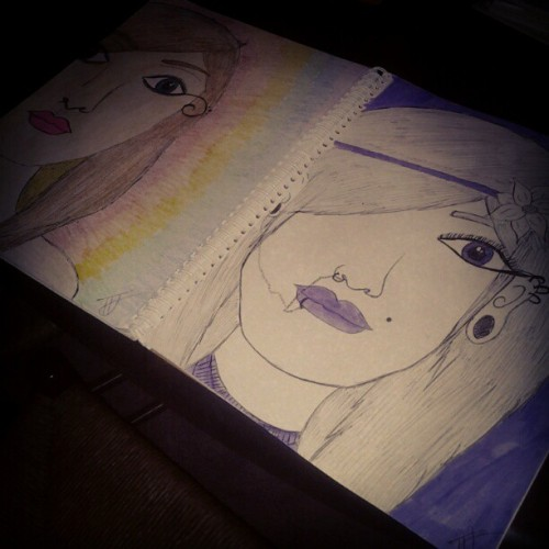 #drawings #cute #beautiful #punk #stretchedears #purple #violet #rainbow #art #bored #creative #