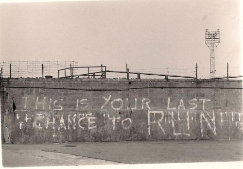 footysphere:  Hooligan graffiti at Sincil Bank - home of Lincoln City  (via saggarmakers)