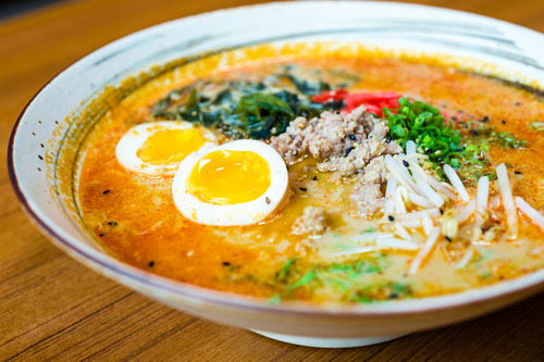 prettygirlfood:  Spicy Soy Ramen: Braised pork, chili oil, soy milk, soft boiled egg, wakame, green onions, kata's garden Thai basil