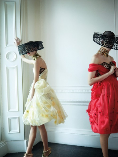 journaldelamode:  Marikka Juhler and Kirsi Pyrhonen in Alexander McQueen by Tom Allen for Harper's Bazaar UK Feb 2013