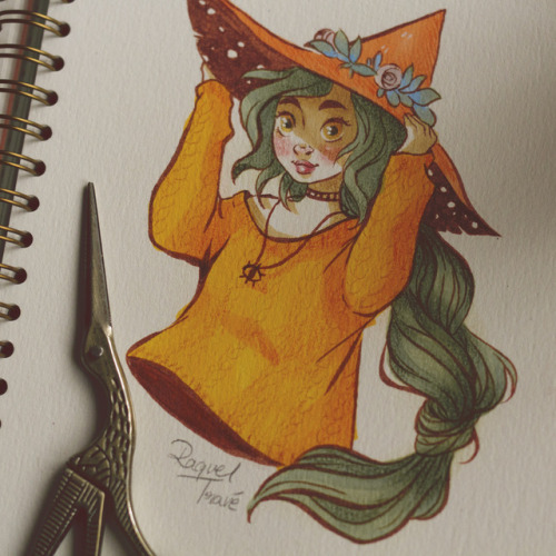 witch inktober sketch sketchbook 31witches copic copicciao copicsmarkers art illustration drawing yellow green magic magical painting traditional traditionalART mosseryco