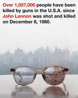 inothernews:  Yesterday, Yoko Ono tweeted out this photo of John Lennon's bloodstained glasses with a simple, powerful message.  (via the New York Daily News)
