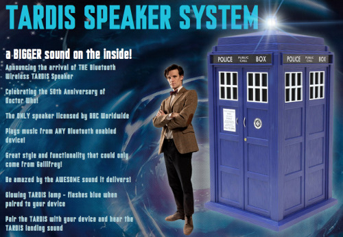 doctorwho:  The Shut Up And Take My Money Doctor Who Link Of The Day: TARDIS Speaker with subwoofer From the description:  The TARDIS Speaker is the only TARDIS speaker in the World, not even on Gallifrey do they have one! And It will be materialising near you very soon. Awesome sound that you would expect from the Doctor. Magical features to give you the enjoyment of owning the only TARDIS speaker ever to be made. With Bluetooth connectivity you can pair any smartphone