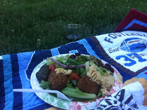 Farmers market last night :) falafel plate and red wine. <3