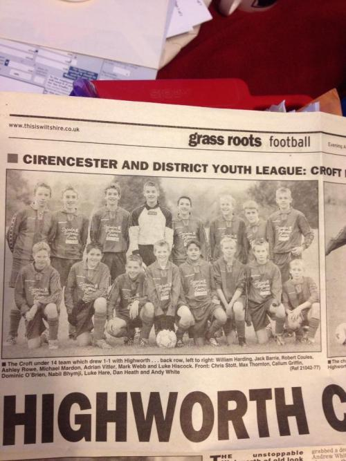 Croft appearing in the Grass Roots pullout of Swindon's Evening Advertiser. We had held Highworth to a 'shock 1-1 draw'. Apparently our keeper had kept us in the game, and our shortest player, Andy White, equalised with a header.