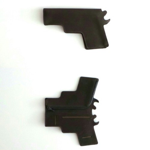 Beautiful charcoal leather wallet in the shape of gun by Macon & Lesquoy *bang bang* #fashion #nuns #studionuns #mayplt