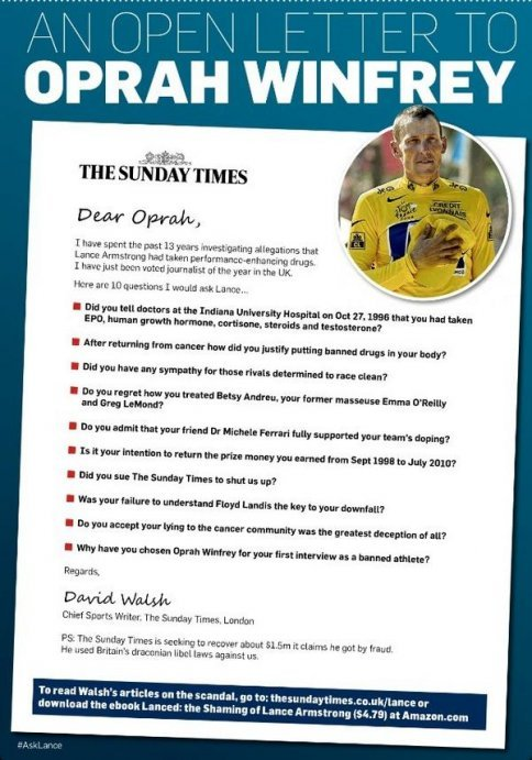 David Walsh (sports ed at The Sunday Times) took out full page advert in The Chicago Tribune ahead of Oprah's Armstrong interview. Class. via yoannmichaux