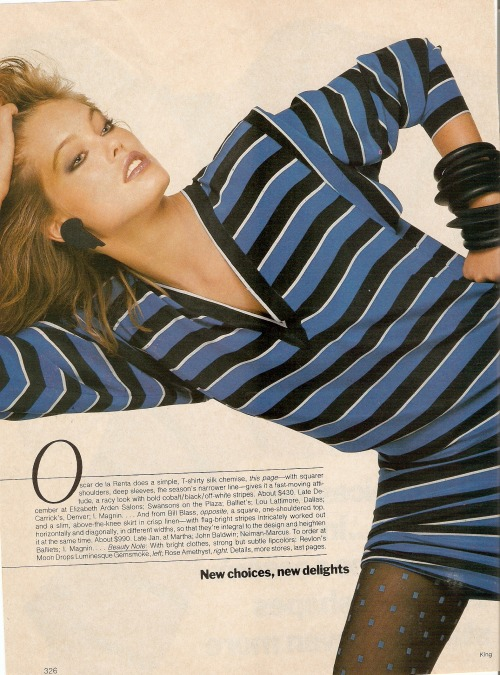 "Vogue US December 1983 ""New Choices, New Delights"" Model: Renée Simonsen ph: Bill King"
