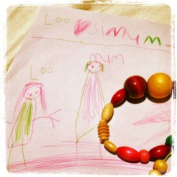 Melts my heart. She gave me this beautiful drawing along with the beaded bracelet (all wrapped up), it was followed up with a matching necklace. Totally wearing them to work tomorrow.