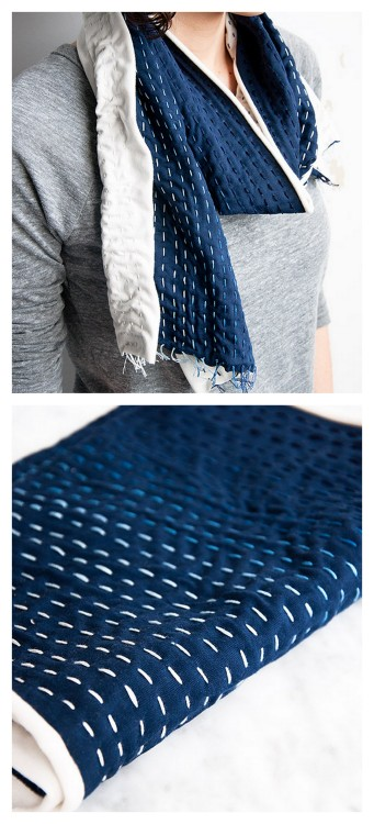 DIY Beginner's Running Stitch Embroidered Scarf Tutorial from Design Sponge here. This is a light weight scarf (2 yards jersey knit) with ombre embroidered running stitch rows with no sewing machine needed.