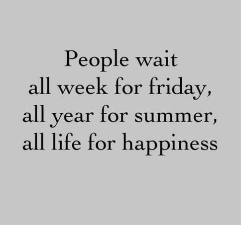 "megancraneandcaitlincrews:  ""People wait all week for Friday, all year for summer, all life for happiness.""  Be. Happy. Now."