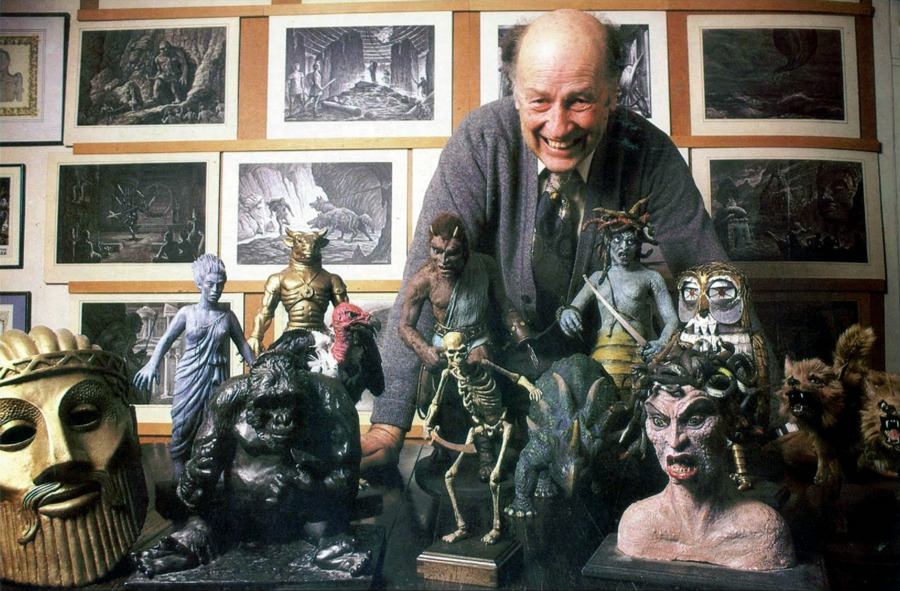 The master at home with his creations. Rest in peace, Ray.