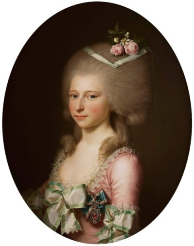 Louise Augusta, Princess of Denmark, by Jens Juel, 1784 A favorite because the colors and fabrics of her gown are just like candy.