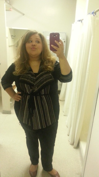 Jaime, 5'4, US size 20 Work attire Shirt: Target, Mossimo, XXL Sweater: Eloquii, size 18/20 Pants: Lane Bryant French Terry Pant, size 20 Shoes: Payless, size 9