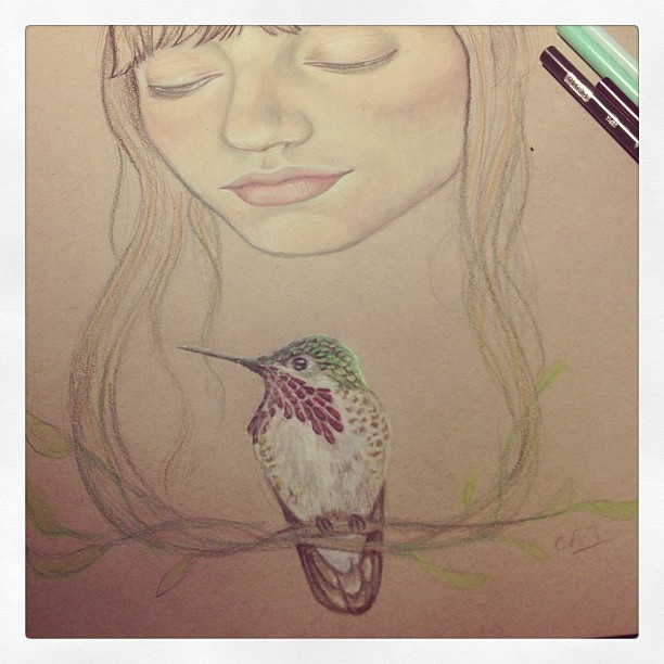 Progress on my Calliope drawing. #constantlyconstance #colorpencil #prisma #wip #popsurrealism #drawing #illustration