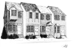 "Townhouse advertisement, pen and ink, 8""x 10"".  (Client: Walt's Construction, Spotsylvania County, VA)  One of my earliest-ever sales (circa 1995).  Client provided front and side elevations of planned townhouse, I did some major-league extrapolating.  Ad ran in local newspaper for one day.  Received agreed-upon payment from client and that was that.  Total professionalism from start to finish, zero difficulties, zero drama.  The lesson here to all you just-starting-out artists?  You most emphatically do not kick off your career drawing Batman and Wolverine."