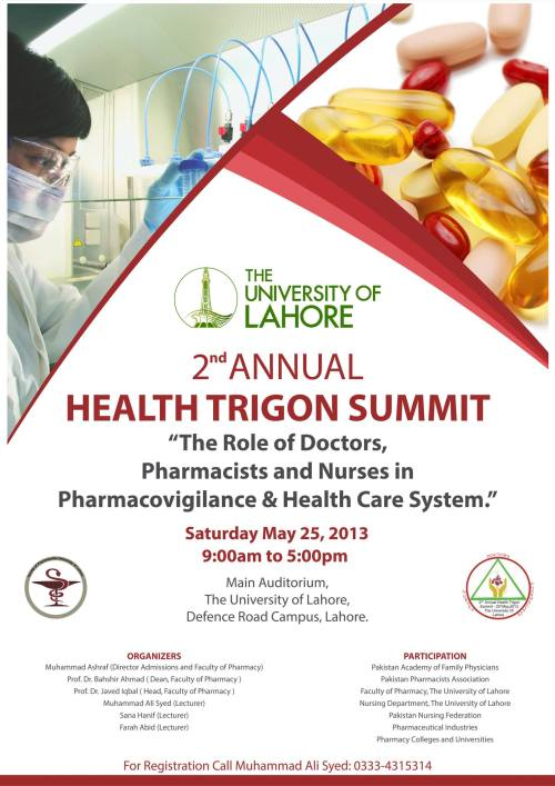 2nd Annual Health Trigon Summit at The University of Lahore. Facebook • Twitter • Google+