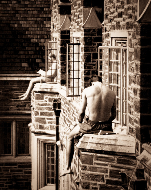 ivy-league-style:  Duke University - Hard at work, catching some rays - 1986