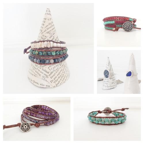 leather wrap bracelet boho jewelry gemstone jewelry california made sea glass festival style boho style bohemian jewelry