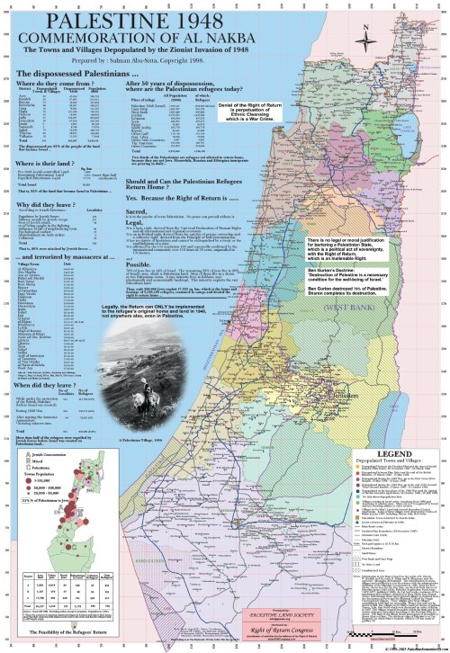 Palestine 1948 - Commemoration of Al Nakba Map of towns and villages depopulated by the Zionist invasion of 1948