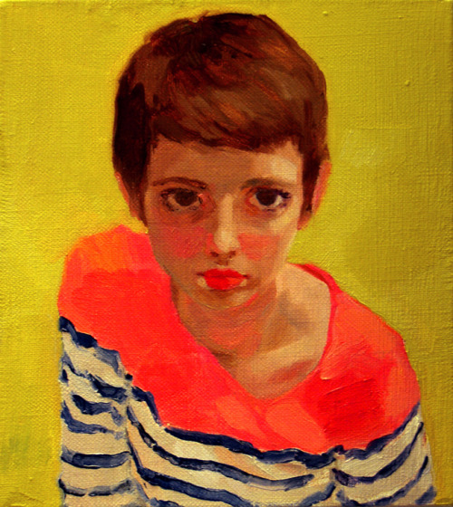 racheldorisgregor:  Untitled Self-Portrait no. 17, Oil on linen (10x9) by Rachel Gregor, 2013