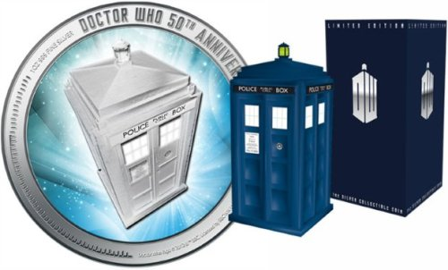 "Doctor Who: New Zealand Mint aims to cash in on 50th anniversary with commemorative TARDIS coin - Radio Times   Trading on the fact that New Zealand was ""the first country outside the UK to screen the show"", the national Mint has produced a commemorative solid silver coin – worth NZ$2 as legal tender but priced at NZ$155 – featuring the TARDIS on one side and Her Majesty the Queen on the other. The coin comes in a presentation replica blue police box, which makes the iconic TARDIS sound when opened, and is officially licensed by BBC Worldwide, the corporation's commercial arm. The coin officially launches on 1 February at the Berlin World Money Fair. You can pre-order it at newzealandmint.com."