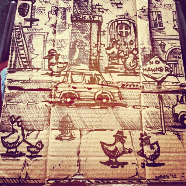My favourite section of a Pigeon City I drew on cardboard. #art #drawing #illustration #landscape #urban #street #pigeon #eleven #thedoubleone #melbourne