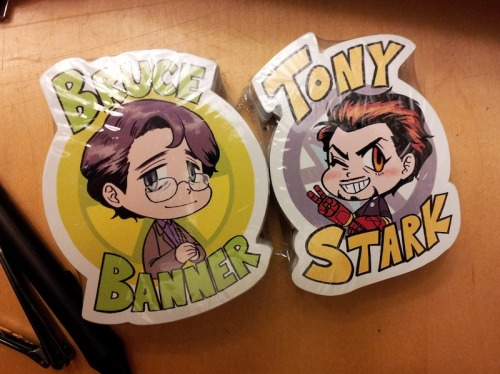 *0* I got the stickers!! The Bruce one ended up bigger than the Tony one, but oh well! Pretend that it's because of the Hulk!! Anyways, I'll be selling these at Fanime too!
