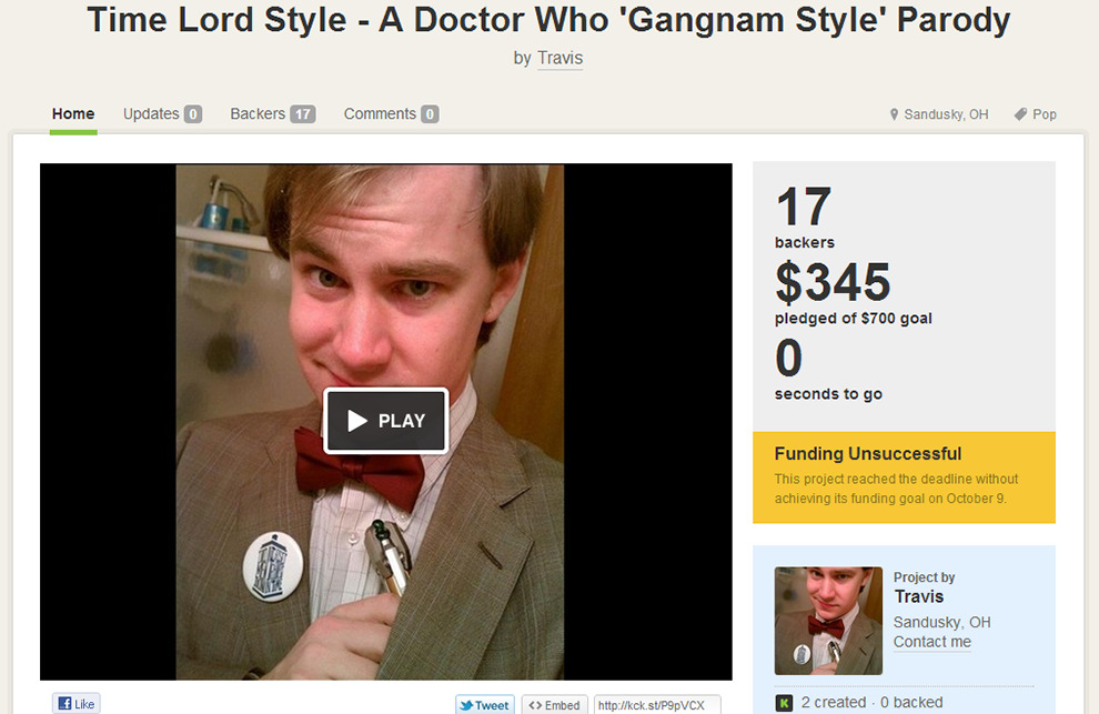 Funding Unsuccessful??? How??  Time Lord Style