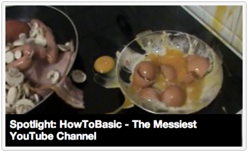 "Spotlight: HowToBasic - The Messiest YouTube Channel [Click to view videos] In Spotlight, we shine a light on some of our favorite blogs, channels, websites, and pieces of Internet ephemera. HowToBasic is a YouTube channel specifically devoted to making a mess thinly veiled in the name of how-to instruction. Launched in December 2011, 157 videos have been uploaded to this channel, with only a few of these narrator-less ""tutorials"" running longer than a minute. Titles like ""How to Close a Door"" and ""How to Correctly Serve a Watermelon"" make it easy to click out of curiosity, just to see where it could possibly lead. It leads to a god damn beautiful mess. [View Videos]"