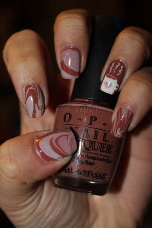 Inspired by Latte Art and Hot Chocolate, using OPI's Chocolate Moose.Enjoy, and Merry Christmas to all! :)