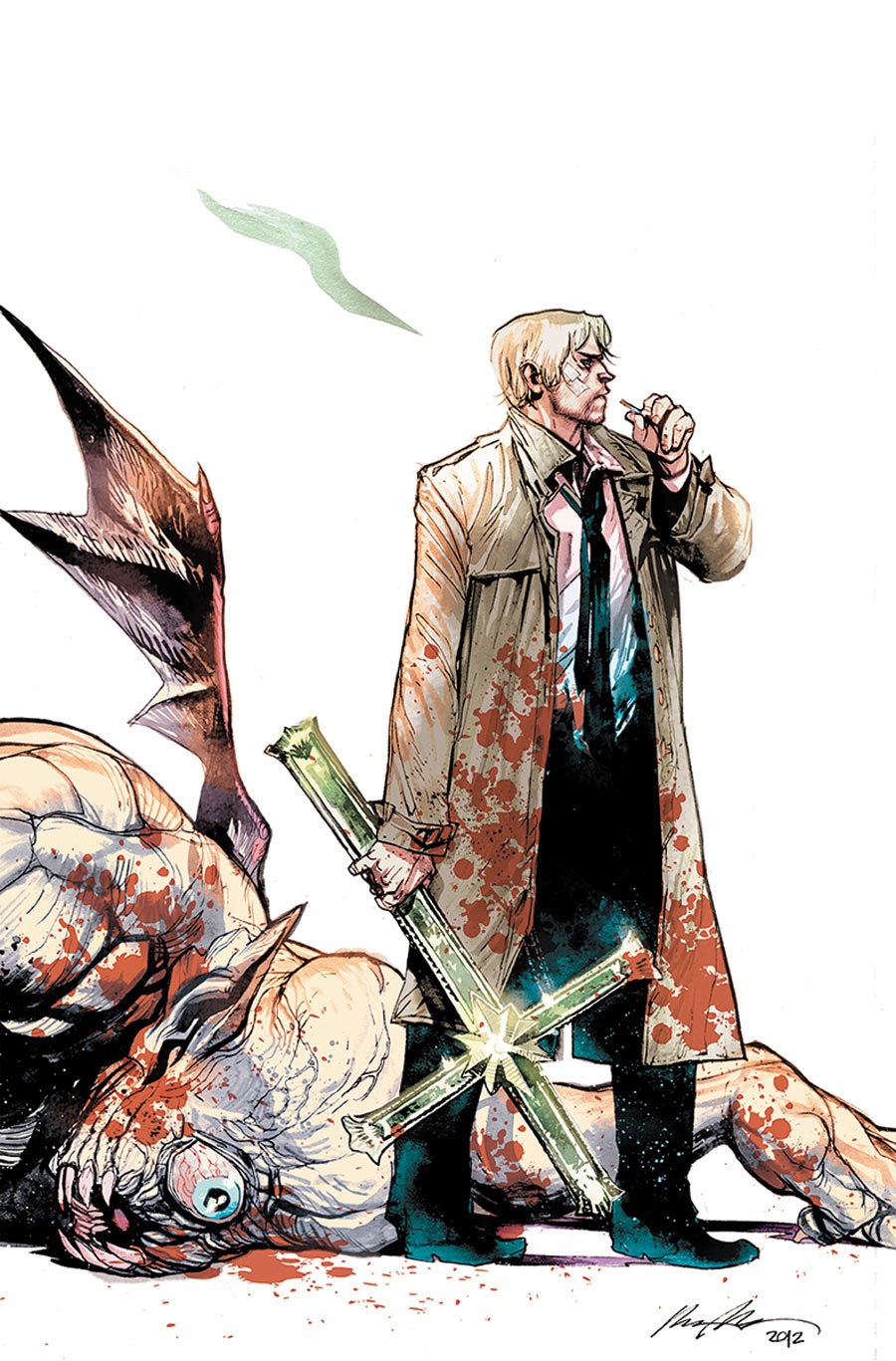 DC comics for July 2013: this is the cover for Hellblazer Vol. #6: Bloodlines, drawn by Rafael Alburquerque, with an appropriately cheeky visual for the nonchalant John Constantine.