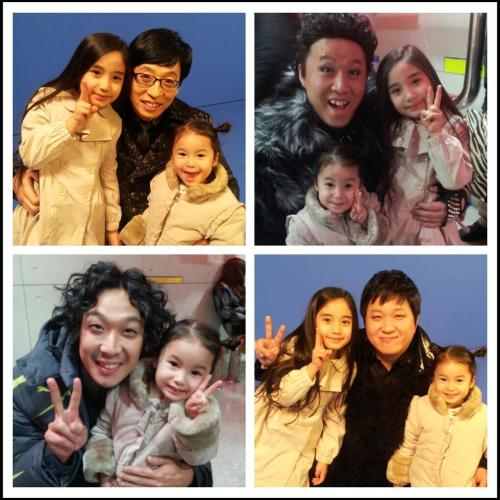Jae Suk, HAHA, JunHa & Hyung Don with children via @mante7