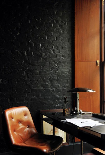 Hot and Cold How do you accent a black brick wall? One word: warmth. The wood cabinets in the background and the gorgeous leather chair in camel make this office look less Deadhead garage and more Hermes handbag. True to form, we did a little scouring of eBay to see what we could find to replicate this look in our own homes. Though we couldn't find anything that exactly matched the absolute treasure of a chair seen in this picture, we did find some… [MORE] solid replacements. Check out this midcentury leather desk chair in a dark claret. This Danish modern swivel desk chair nearly gets it, nailing the camel coloring but designed to be more of a statement piece. If you're looking for lamps, this black metal desk lamp from the '50s is a must. Get 'em before they're gone! (Photo courtesy of designtraveller. Text by Jenny Bahn)