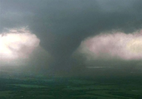 breakingnews:  Tornado causes destruction in Oklahoma City area AP:   A mile-wide tornado chewing through the Oklahoma City area has reduced neighborhoods to rubble and left cars and trucks stranded on the sides of highways.  Follow more updates on this story at BreakingNews.com. Photo: A massive twister is spotted near Oklahoma City on Monday afternoon. (NBC News)