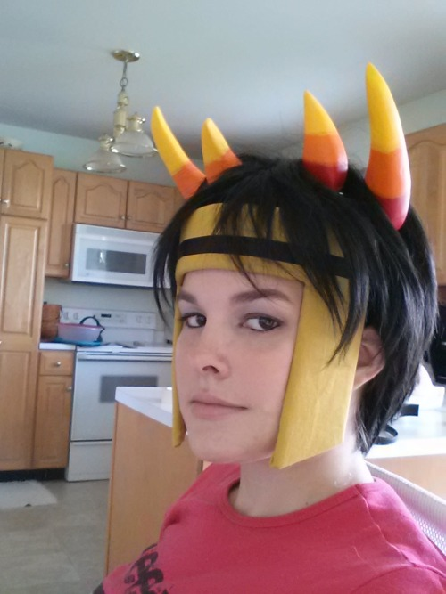 Horns, Wig, and Headpiece for Psiioniic at Anime Boston this year. I don't think this will be the wig I'm using but I just wanted to see what it all looked like together.