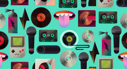 Illustrations of Scott Balmer. Using lovely vectors and gradients, I really love this particular piece because its repeative. It would work really well as a wallpaper!  The colours themselves are also interesting, usually having been discovered along the way by seeing what feels right, rather than making a rigid plan.