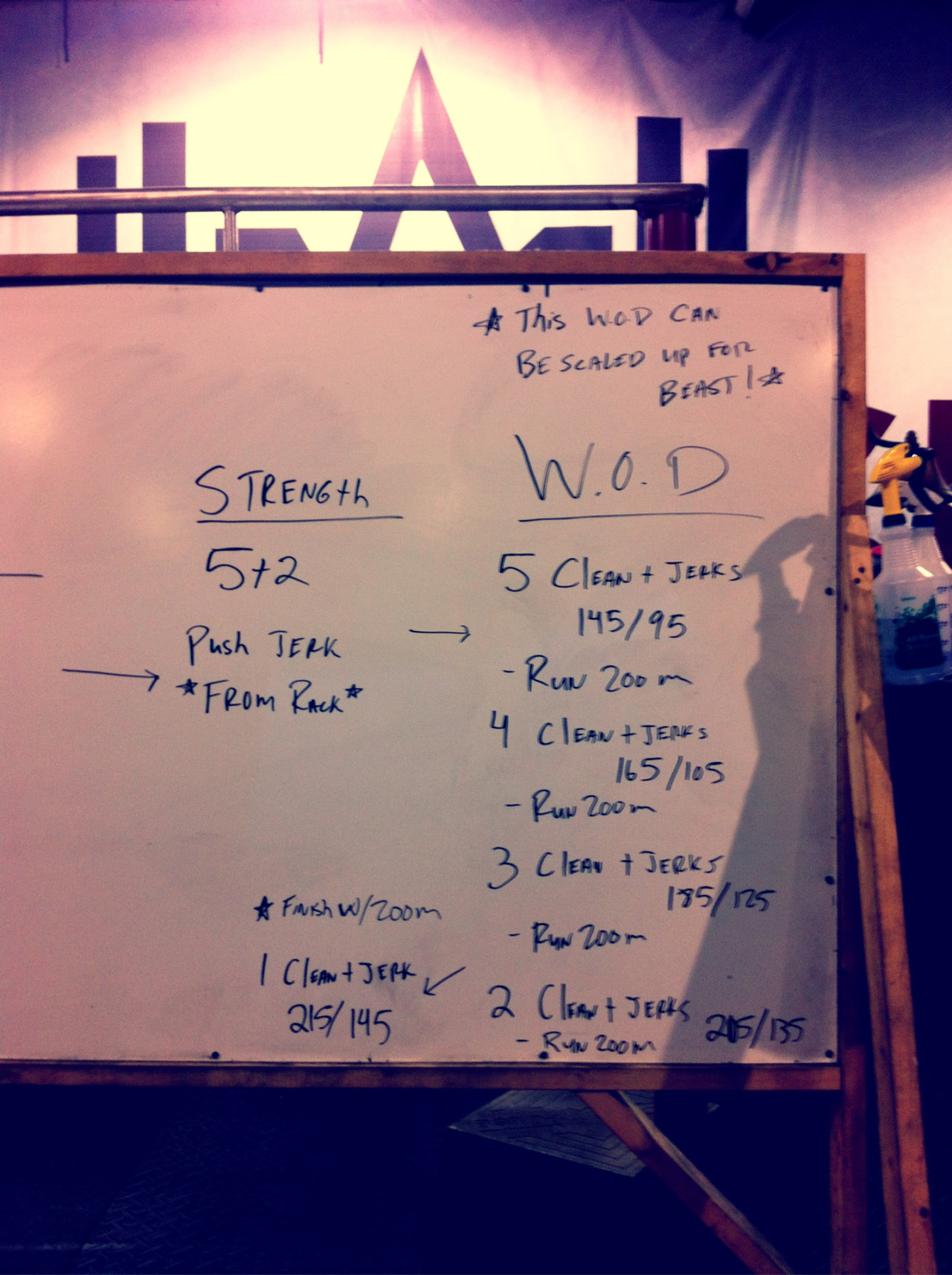 WOD - For Time:5 clean & jerks @ 145lbsRun 200m4 clean & jerks @ 165lbsRun 200m3 clean & jerks @ 185lbsRun 200m2 clean & jerks @ 205lbsRun 200m1 clean & jerk @ 215lbsRun 200m I felt really good this morning.  Really good.  I think it is a combination of taking the appropriate rest days, recovery process, as well as the added cardio that I have been doing.  In fact, the past 3 training days have all felt great.  More so than usual.  Anyway, all of that coupled with a WOD that is a strength and it was a win. I really cannot remember the last time I felt this way, but during this WOD it was like I couldn't push hard enough.  Normally our runs start from the loading dock ramp and end there as well.  I typically setup away from that area and use it during running WODs to catch my breath as I will run to the door and then walk over to my bar.  Today I ran from my spot out and back and then back to my bar.  As the weight increased it never really felt heavier.  Strange to say that, but I felt more aggressive and also wanted to run faster.  I lapped one dude twice. Finished first in the class with 10:17 @ RX.