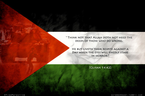 "sulemankayat:  ""Think not that Allah doth not heed the deeds of those who do wrong. He but giveth them respite against a Day when the eyes will fixedly stare in horror."" [Quran 14:42] #FreePalestine"