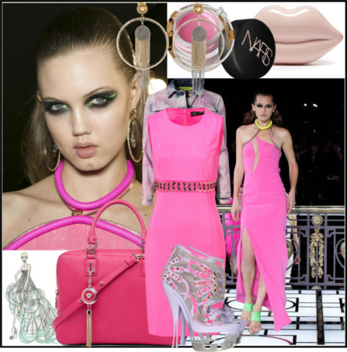Versace Pink by sue-mes featuring versace ❤ liked on PolyvoreVersace lace sheath dress / Versace , $700 / Versace clear high heels / Versace pink handbag / Lulu Guinness pink clutch / Versace chain jewelry / Versace stainless steel jewelry / NARS Cosmetics lip cosmetic