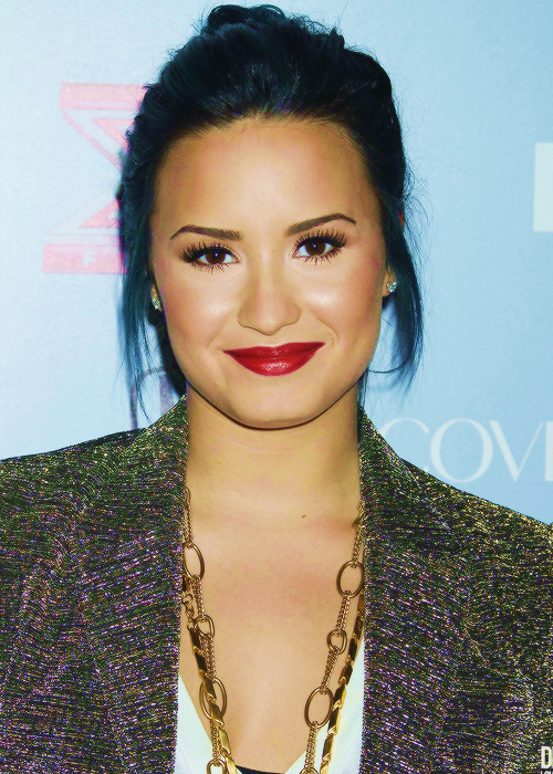 Demi Lovato arriving on X Factor Top 12 Party.