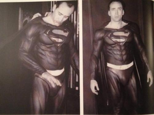 New pictures of Nicolas Cage suited up for 'Superman Lives' emerge While the world never got to saw Tim Burton's vision for Superman, these new photos of Nic Cage in the Superman costume are certainly better than the low quality ones that have been surfing the web for years. If only… Via