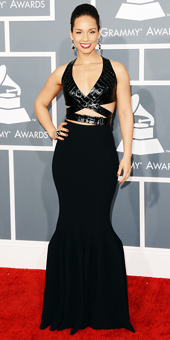 GRAMMY AWARDS 2013:  Alicia Keys in Azzedine Alaia …