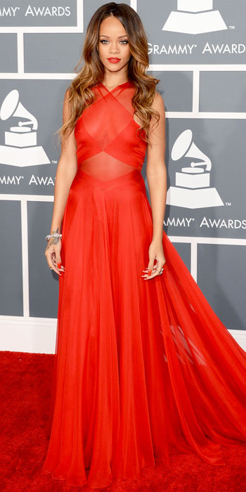 GRAMMY AWARDS 2013:  Rihanna in  custom Azzedine Alaia gown …