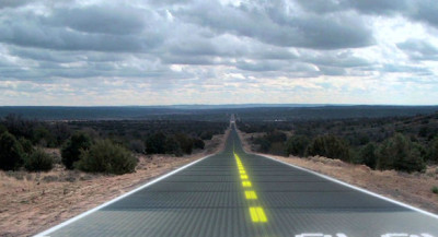 Solar Roads, Charging Roads, And The Future Of Transportation | FastCompany Here are two great innovations, that could potentially have a profound impact on the future of transportation. Solar Roads: Imagine that you could replace the concrete or asphalt with solar cells beneath a layer of glass. Operating at 15% efficiency the U.S. road system would provide more than four times our current electricity needs, or about as much electricity as the whole world uses. It's a lot of potential power. Charging Roads: What if an electric vehicle can be recharged without wires while on road. Using magnetic induction technology, a company called Wave is trying to achieve just that.