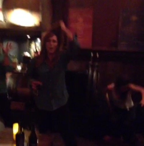 my-rk-interests:  Blurry pic of Kristen (right hand corner) hanging with friends last night. 5-10-13